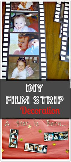 DIY photo film strip decoration for red carpet graduation ceremony. Easy and cheap to make for any fun party or home decoration for a movie room. Graduation Theme, Preschool Graduation, Movie Themes, Party Themes, Party Ideas, Carpet Diy, Beige Carpet, Carpet Ideas, Yellow Carpet