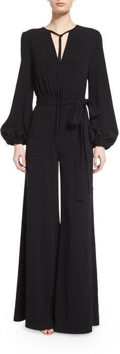 Co Bishop-Sleeve Flare-Leg Jumpsuit, Black