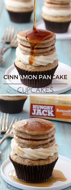 Cupcakes So Cute They're Almost Impossible to. Get the recipe ♥ Cinnamon Pancake CupcakesGet the recipe ♥ Cinnamon Pancake Cupcakes Pancake Cupcakes, Yummy Cupcakes, Cupcake Cakes, Making Cupcakes, Breakfast Cupcakes, No Bake Desserts, Just Desserts, Delicious Desserts, Yummy Food