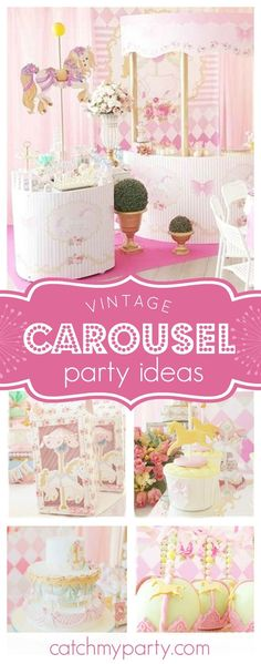 Don't miss this amazing vintage pink Carousel birthday party. The cake is stunning!!! See more party ideas and share yours at CatchMyParty.com