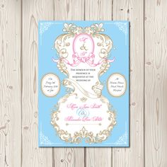 A pretty,opulent, decadent 'Marie Antoinette' style wedding invitation with soft, feminine, and romantic vibes. Shown here in shades of pick and blue. Thes