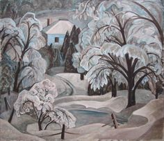 Blue Ice Lake Wonish by Anne Savage at Mayberry Fine Art Canadian Painters, Canadian Artists, Beaver Hall, Ice Lake, Winter Art, Book Illustration, Illustrations, Savage, Art History