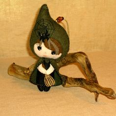 Halloween Felt Witch Doll Ornament by BJGInspired on Etsy.