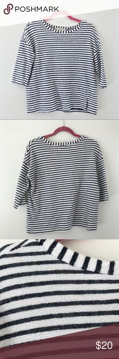 """Project Social T for UO Cotton Terry Shirt Sz S * White shirt with navy stripe * 100% cotton terry * Small side slits  * Length: 22"""" * No signs of wear  ▫️No trades ▫️Smoke free + pet free home ▫️Feel free to make an offer! Project Social T Tops Tees - Short Sleeve"""