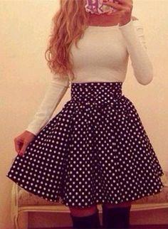 Sweet Boat Neck Elastic Waist Polka Dot Long Sleeve Dress