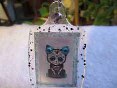 Sugar Skull Cat Keychain, Kitty Sugar Skull Keychain, Sugar Skull Cat Jewelry, Purse Cat Jewelry, Cat Lover Gift, Cat Rhinestone Keychain by FoxHuffDesigns on Etsy