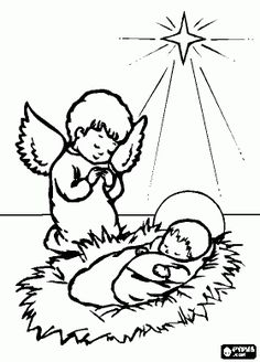the holy family, jesus, mary and joseph with the star of bethlehem ... - Baby Jesus Manger Coloring Page