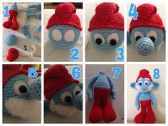 My new addition smurfs  thanks to amigurumi blog  you can click the pic to see the pattern  enjoy :)