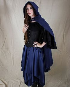 Navy Blue Rogue Cape Halloween Renaissance Costume by Faire Treasures on Etsy
