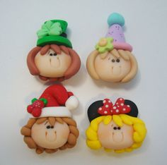 Mini Mix Set Girls Polymer Clay Charm Bead Scrapbooking Embelishment Bow Center Pendant Cupcake Topper via Etsy