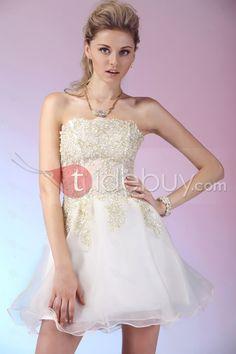 Aラインストラップレスミニ/ショート刺繍プロムホームカミングドレス