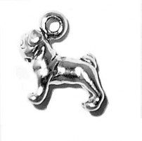 Pug Dog Mini Charm 3d 925 Sterling Silver Weight is approx. 1.2 grams Approx. Size 3/8 x 5/16 Charms can be used on a charm bracelet or