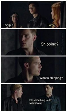 """""""something to do with boats?"""" Google's a great thing. Clary, show them it."""