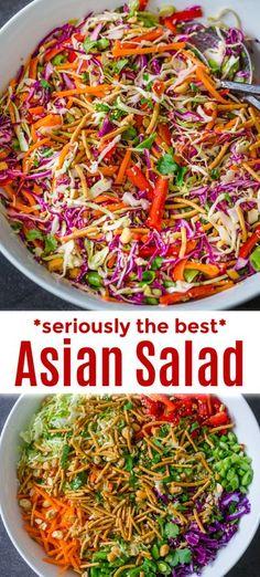 Asian Chopped Salad, Chopped Salad Recipes, Vegetarian Salad Recipes, Healthy Recipes, Crunchy Asian Salad, Healthy Salads, Chopped Salads, Asian Chop Salad Recipe, Asian Cabbage Salad