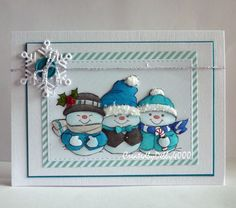 Art Impressions Rubber Stamps: Ai Christmas: Holly Jolly Set (Sku#4667) ... handmade snowman card.