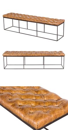 Metal and leather are often associated with rustic ranch ambiance, but this Harrington Bench shows the combination can be contemporary and exciting. The open-concept base creates a spacious look, and a...  Find the Harrington Bench, as seen in the When Industrial Took Flight Collection at http://dotandbo.com/collections/when-industrial-took-flight?utm_source=pinterest&utm_medium=organic&db_sku=124627