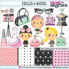 Models Clipart, Models Theme Party, COMMERCIAL USE, Fashion Clipart, Kawaii Clipart, Models Graphics, Fashion Graphics, Planner Accessories