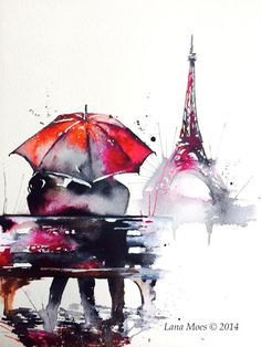 Paris Love Romance Travel Original Watercolor Painting - Series of Wanderlust - Paris Red Umbrella