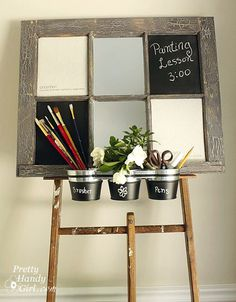 An Artist's Inspiration Board from an Old Window.  to lean on top of desk?  buckests lose on desk top use mirrors as dry erase swap chalk for magnetic board