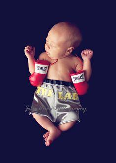 Little Fighter Infant Boxing Trunks - Photo Prop Diaper Cover. $25.00, via Etsy.