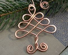 Tree Ornament - Christmas Tree Holiday Ornament - Copper Wire - Handmade Gift - Celtic Tree of Life Decoration, Home Decor by phyllis Copper Ornaments, Handmade Ornaments, Christmas Tree Ornaments, Ornament Tree, Glitter Ornaments, Christmas Trees, Christmas Lights, Yule, Copper Decoration
