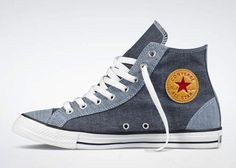Released from Converse is the All-Star Hi Chambray. Available in two colorways of Dark and Black Denim, this sneaker offers the washed out look of a Chambray to the upper of the Converse shilouette. Converse Chuck Taylor All Star, Converse All Star, Chuck Taylor Sneakers, Converse Shoes, Estilo Converse, Shoe Boots, Men's Shoes, Shoes Sneakers, Mode Man