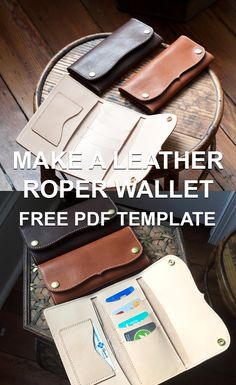 """Make a Leather """"Roper"""" style long wallet with our free downloadable PDF template set! Need help putting it together? Check out the full length HD build along video tutorial and list of tools used."""