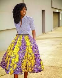 My Style – Page 9 Striped Shirt African Print Midi Skirt - this one is for Lolo African Inspired Fashion, African Print Fashion, Fashion Prints, Tribal Fashion, African Prints, African Fabric, African Attire, African Wear, African Dress