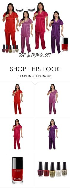 TOP & PAJAMA SET by lavanyas-trendzs on Polyvore featuring Chanel, sleepwear, nightsuit and pajamaset   http://www.polyvore.com/cgi/set?id=214305610  #nightsuit #pajamaset #sleepwear
