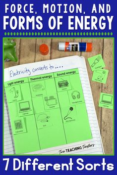and grade students will have fun and use critical thinking to complete these forms of energy sorting activities. 5th Grade Science, Middle School Science, Elementary Science, Science Classroom, Teaching Science, Elementary Education, Upper Elementary, Teaching Tips, Science Vocabulary