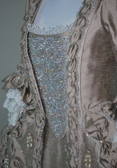 18th Century Rococo Gown Robe a la Francaise embroidered stomacher