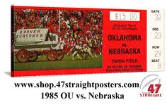 1985 National Champions. Oklahoma Sooners. Football art made from an authentic 1985 OU vs. Nebraska football ticket on canvas. Oklahoma won 27-7 in Norman. Watch highlights on Youtube. http://www.youtube.com/watch?v=rHbZ3U0L4nY 1985 OU vs. Nebraska highlights #47straight #football