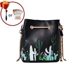 69cae548ff LABANCA Womens Mini Bucket Bag Cactus Printed Shoulder Bag with Drawstring  Chain Crossbody Bag Black  Handbags  Amazon.com