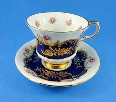 "Pretty Cobalt With Roses Paragon "" Pembroke"" TEA CUP AND Saucer SET"