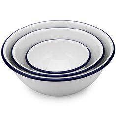 Falcon - White & Blue Enamel Mixing Bowl Set 3pce Product Number: 956955 RRP:$31.00 Peter's Price: $21.00