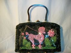 Vintage Black Wicker & Pink Beaded Poodle Woven Box Bag