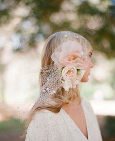 Silk Flower Bandeau Veil Style VTH304 #davidsbridal #bohochic