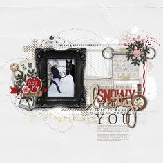 love the red and black in this #scrapbook page from Kayleigh at DesignerDigitals.com