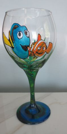Finding Nemo Finding Dory  Wine Glass Hand Painted by CCsCrafts on Etsy