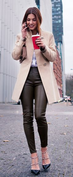 Street Style: Negin Mirsalehi is wearing a beige coat from Fay