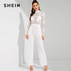 c4052952593 SHEIN White Contrast Lace Mock-Neck Sheer Jumpsuit Elegant Plain Mid Waist  Office Lady Casual