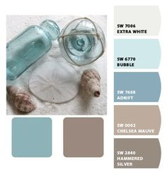 Warm muted blue water sand beach mink brown tan taupe ivory cream #designseeds color colour colore farbe palette repinned by #vividfiberarts