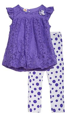 a4d040404d5 baby dresses · (HT15430) Healthtex Toddler Girls 2 Piece Chiffon Tunic and  Legging Set in Purple Size