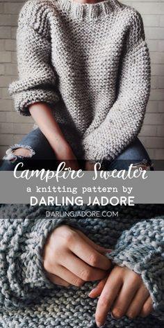 The Campfire Sweater Knitting Pattern Chunky Knit Sweater Pattern Darlingjadore , das campfire sweater strickmuster chunky knit sweater pattern darlingjadore , le modèle de tricot de pull de feu de camp motif de pull en tricot épais darlingjadore Pull Crochet, Knit Crochet, Chunky Crochet, Hexagon Crochet, Tunisian Crochet, Crochet Stitch, Crochet Granny, Crochet Gifts, Knitting Patterns Free