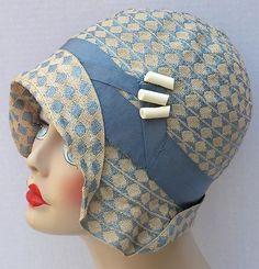 Hat Creme Woven Antique Cloche Botones Blue de Vtg Flapper celuloide 1920s 0qfwHZ7