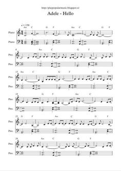 pdf My favourite sentence from the ly… Free full piano sheet music: Adele – Hello.pdf My favourite sentence from the lyrics is: Did you ever make it out of that town wh… Popular Piano Sheet Music, Piano Sheet Music Letters, Clarinet Sheet Music, Violin Music, Popular Music, Free Piano Sheet Music, Music Sheets, Guitar Songs, Acoustic Guitar