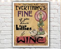 cat lover gift - cat lady - kitties and wine - cat art print - gifts for cat lovers by Jenndalyn on Etsy https://www.etsy.com/listing/114402472/cat-lover-gift-cat-lady-kitties-and-wine