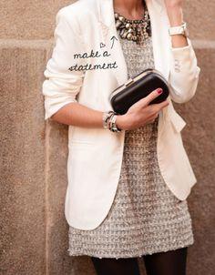 How to Wear the Boyfriend Blazer look at 'The Fashionista Coach' for more ideas Estilo Fashion, Look Fashion, Street Fashion, Womens Fashion, Fashion 2014, White Fashion, Fashion Clothes, Fashion Shoes, Girl Fashion