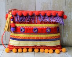 Purple fringed ethnic clutch bag Browse unique items from RENIQLO on Etsy, a…