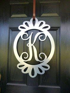 Metal monogram door hanger, monogrammed metal wreath, monogram door hanger,wedding gift, personalized monogram, front door by housesensations
